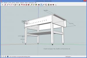 Werktisch im Eigenbau - Sketchup-Zeichnung