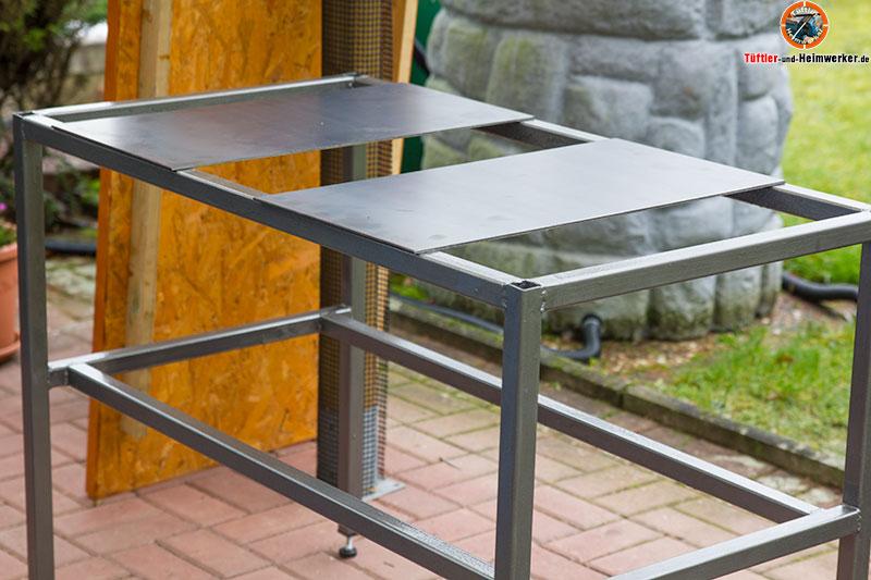 Arbeitstisch schwei tisch pflanztisch selber schwei entueftler und for Tischplatte selber bauen