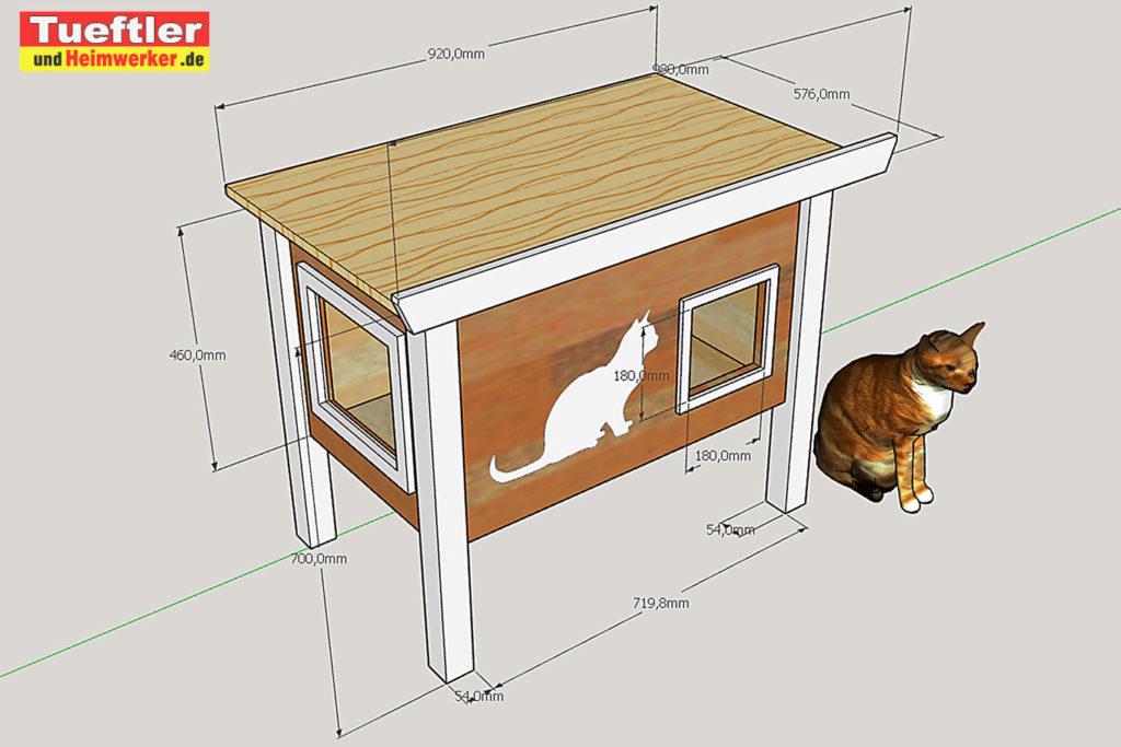 Katzenhaus-DIY-Projekt-Sketchup-Skizze