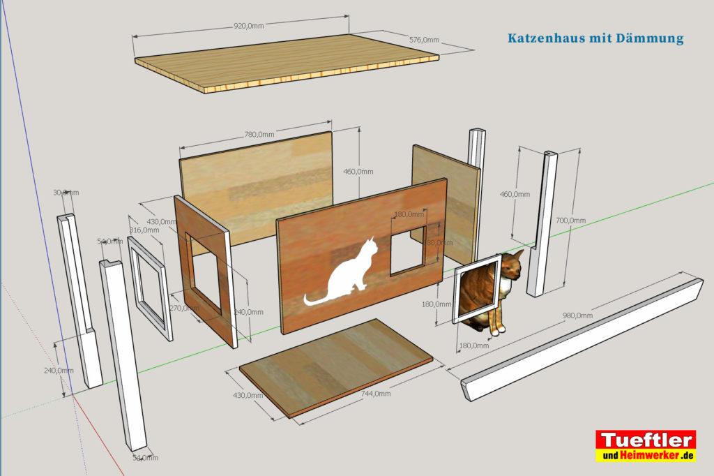 Katzenhaus-DIY-Projekt-Sketchup-Skizze-Zerlegt
