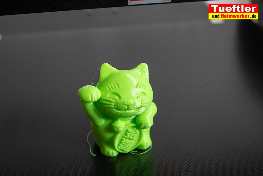 JGAURORA-A5-3D-Drucker-Test-Beispieldruck-Glueckskatze