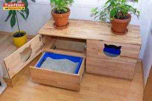 Luxus Katzentoiletten-Schrank aus Buche Echtholz
