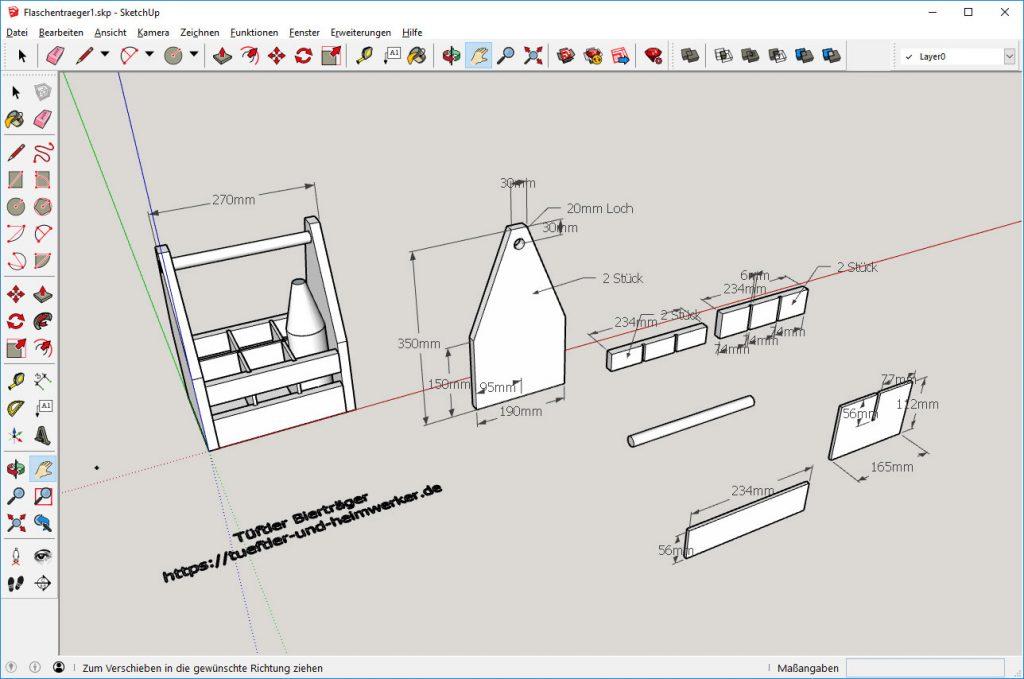 Bierträger im 3D-Programmm Sketchup