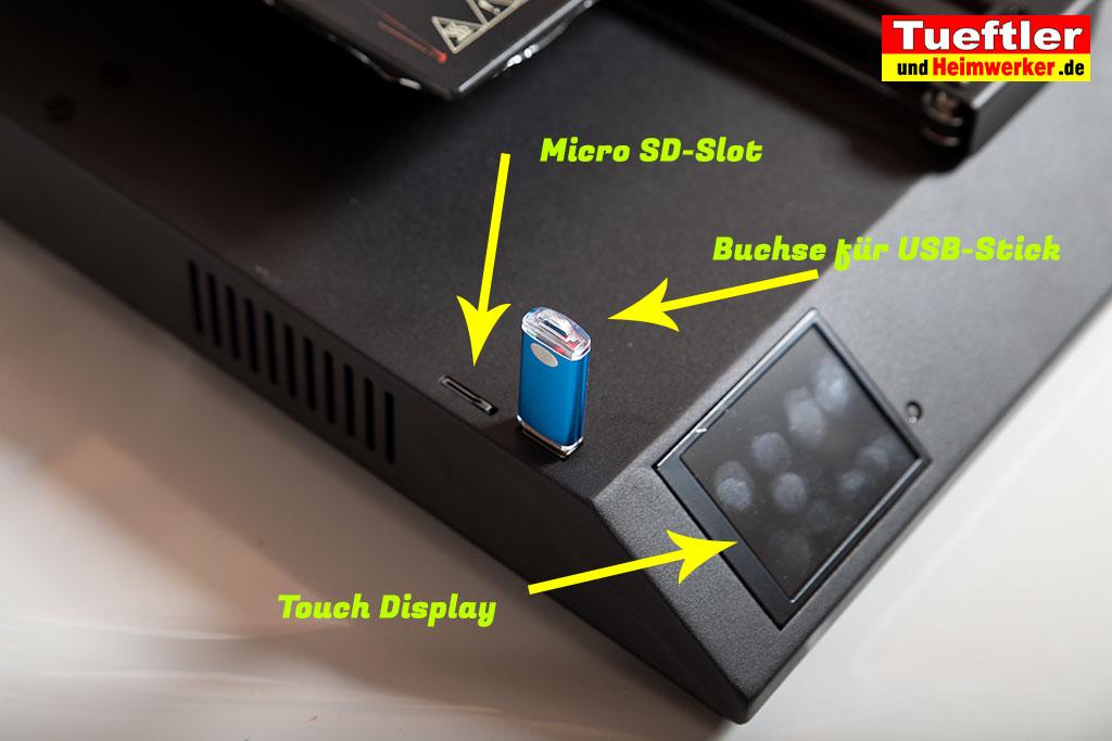 Artillery-Sidewinder-X1-Test-3D-Drucker-USB-MikroSD-Display