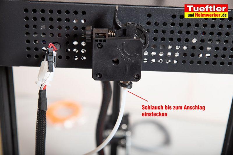 Flsun-Q5-Delta-3D-Drucker-Tutorial-Aufbau-Schlauch-Extruder-einstecken