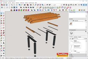 Gartentisch-bauen-DIY-Projekt-Sketchup-Einzelteile