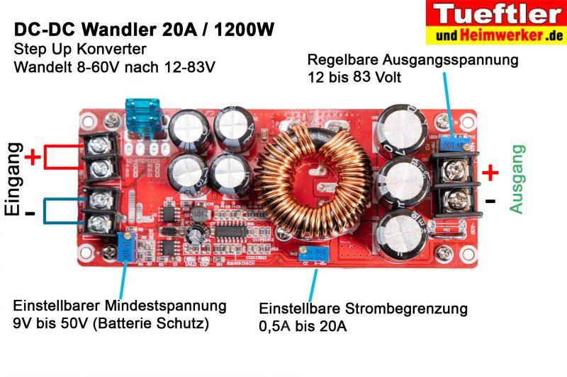 Step-Up-Konverter-DC-DC-Wandler-DC-1200W-20A-Anschluesse-Pinbelegung